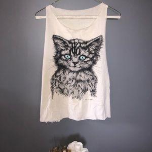 Tops - Cat sleeveless T-shirt